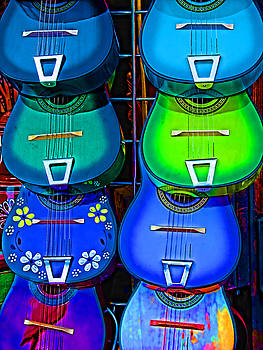 Colorful Mexican Guitars by Helaine Cummins