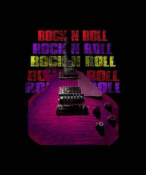 Colorful Music Rock N Roll Guitar Retro Distressed T-Shirt by Guitar Wacky