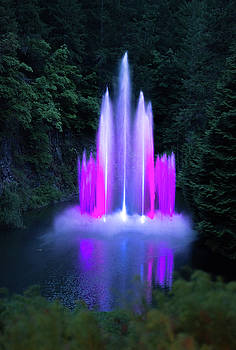 Colorful night fountain by Michael Bessler