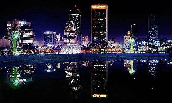 Frozen in Time Fine Art Photography - Colorful Night Reflection in Jacksonville