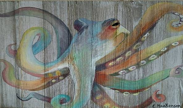 Colorful Octopus on Wood by Elaine Haakenson