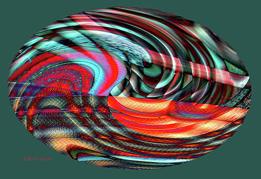 Colorful Oval Abstract 7179F  by Kae Cheatham