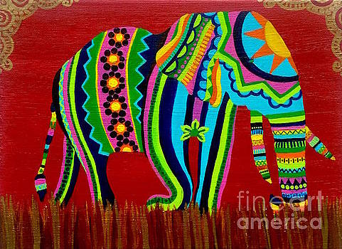 Colorful Patterned Elephant by Ashley Baldwin