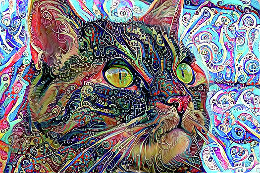 Colorful Psychedelic Cat Art by Peggy Collins