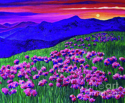 Colorful Rainbow Sunset over Blue and Purple Mountains and a Field of Flowers by Ashley Baldwin