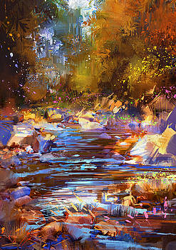 colorful river by