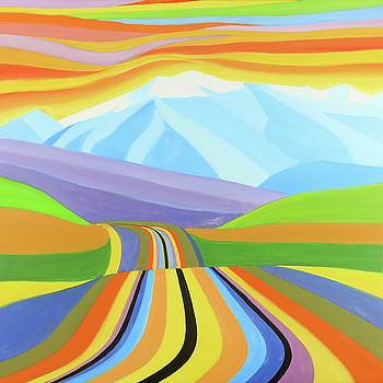 Colorful Road with Mountains View by Atelier B Art Studio