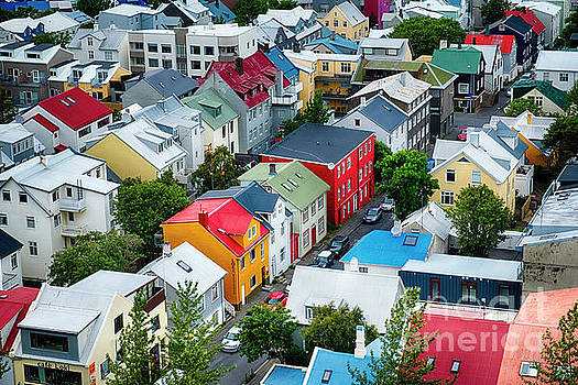 Colorful Rooftops of Reykjavik by George Oze