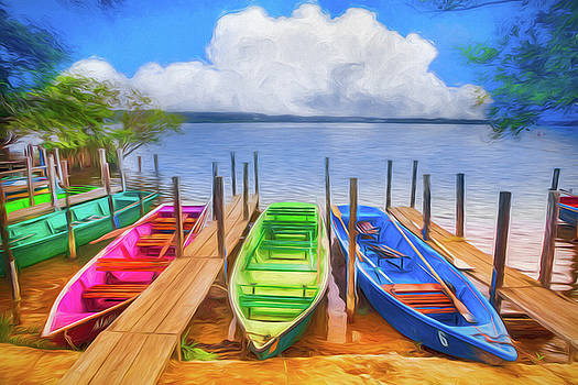 Debra and Dave Vanderlaan - Colorful Rowboats at the Lake in Bright Colors
