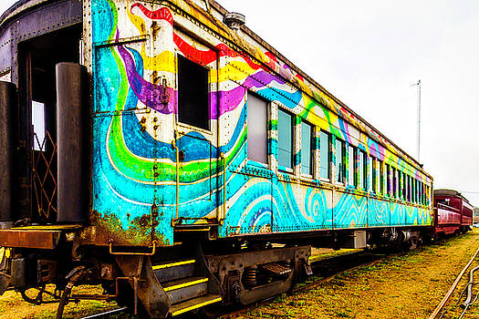Colorful Skunk Train Passenger Car by Garry Gay