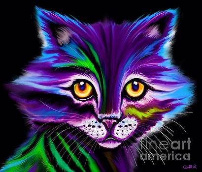 Colorful Striped Cat by Nick Gustafson