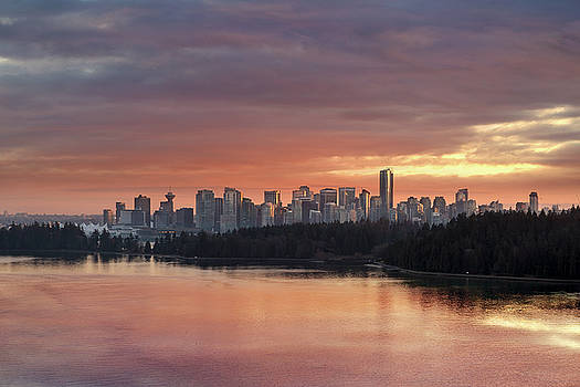 Colorful Sunset over Vancouver BC Downtown Skyline by David Gn