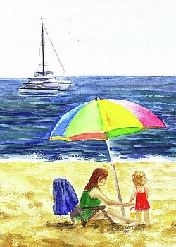Irina Sztukowski - Colorful Umbrella On The Beach