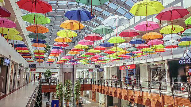 Colorful umbrellas at the mall 1 by Claudia M Photography