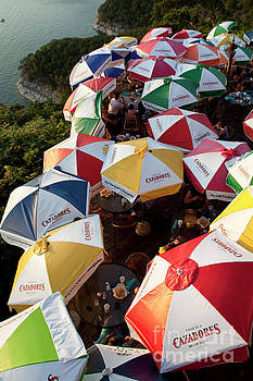 Herronstock Prints - Colorful umbrellas shade Lake Travis Restaurant