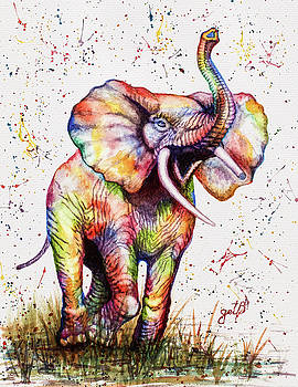 Colorful Watercolor Elephant by Georgeta Blanaru