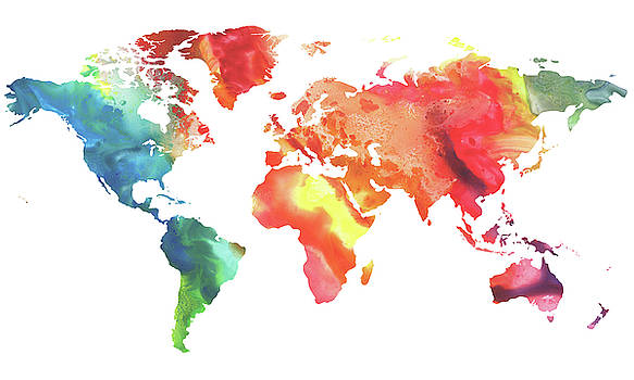 Colorful Watercolor Map Of The World by Irina Sztukowski
