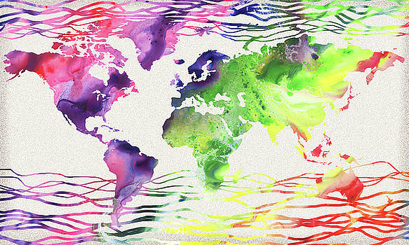 Colorful Wave Of Watercolor World Map by Irina Sztukowski