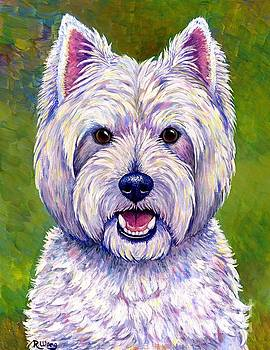 Colorful West Highland White Terrier Dog by Rebecca Wang