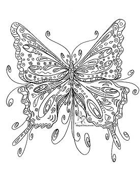 Coloring Page for Adults Butterfly I by MADART by Megan Duncanson