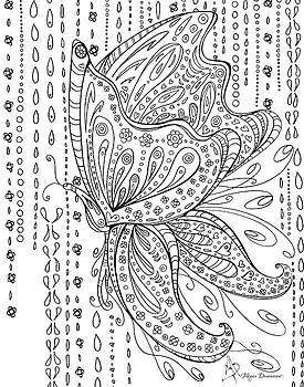 Coloring Page with Beautiful Butterfly Drawing by Megan Duncanson by Megan Duncanson