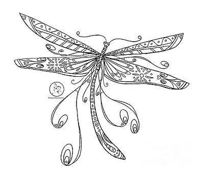 Coloring Page With Beautiful Dragonfly Drawing By Megan Duncanson by Megan Duncanson
