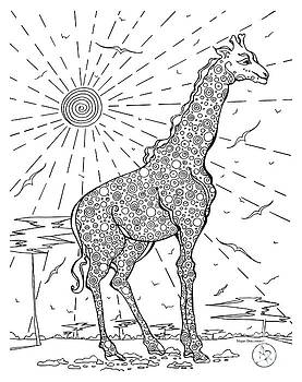 Coloring Page With Beautiful Giraffe Drawing By Megan Duncanson by Megan Duncanson