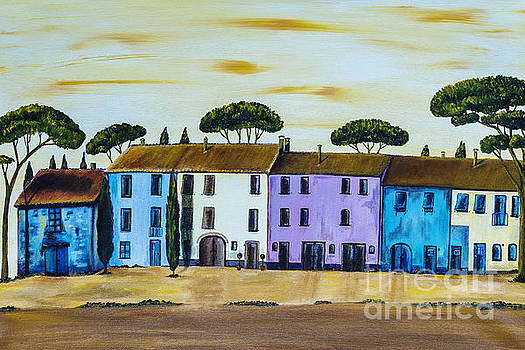 Coloured Houses in a Row in Tuscany by Christine Huwer