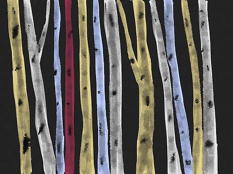 Colourful Birches by Paula Brown