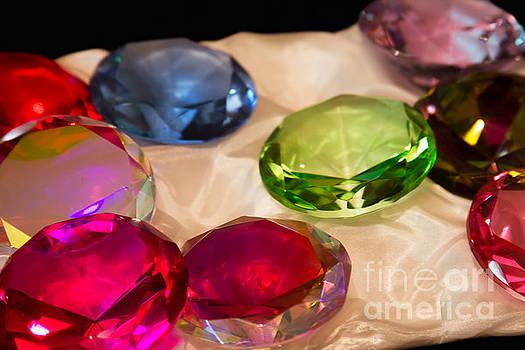 Colourful Glass Jewels on Satin by Sharon Mau