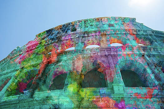 Colourful Grungy Colosseum in Rome by Clare Bambers