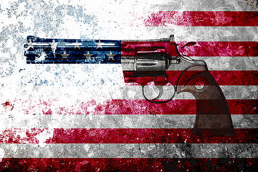 M L C - Colt Python 357 Mag on American Flag