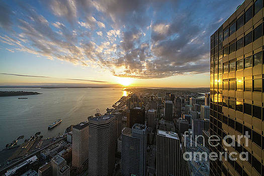 Columbia Center Sunset Skies Above Seattle by Mike Reid