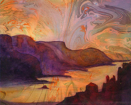 Columbia Gorge on Marbled paper by Denice Palanuk Wilson