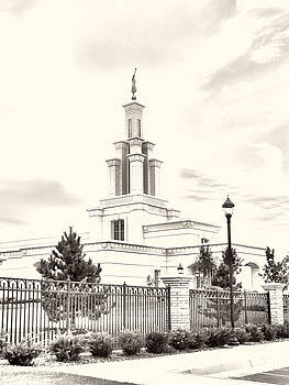 Columbia River Temple Sketch by Misty Alger