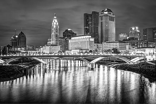 Columbus Ohio Downtown Skyline in Black and White by Gregory Ballos