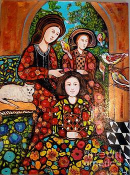 Combing Madeline with birds by Marilene Sawaf