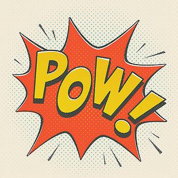 Comic Pow on off white by Mitch Frey