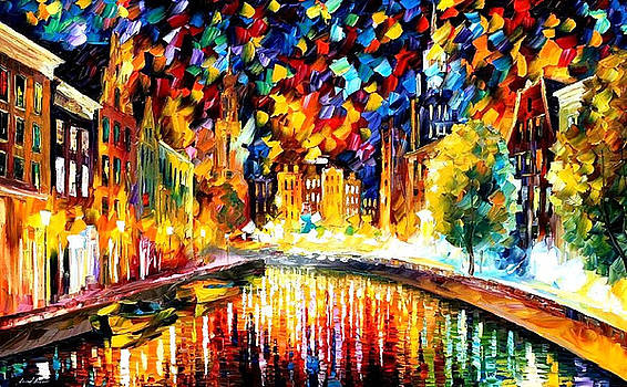 Coming Back... Amsterdam - PALETTE KNIFE Oil Painting On Canvas By Leonid Afremov by Leonid Afremov
