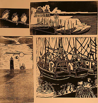 Composite of four woodcuts by Biagio Civale