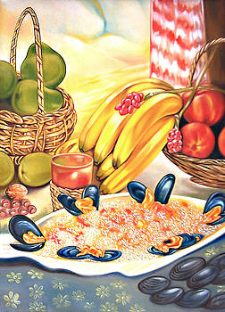 Composition of fruits and seafood with rice by Ismaele Alongi