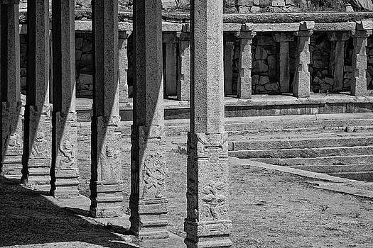 Composition of pillars, Hampi, 2017 by Hitendra SINKAR