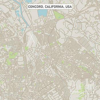 Concord California US City Street Map by Frank Ramspott