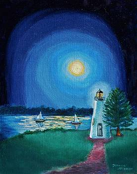 Concord Lighthouse by Moonlight Havre de Grace by Jeannie Allerton