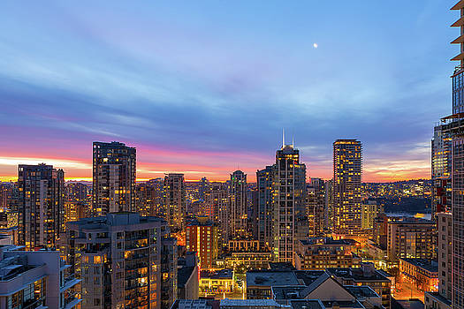 Condominium Buildings in downtown Vancouver BC at Sunrise by David Gn