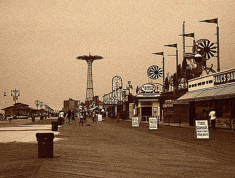Coney Island Boardwalk Sepia Tone by Jonathan Sabin