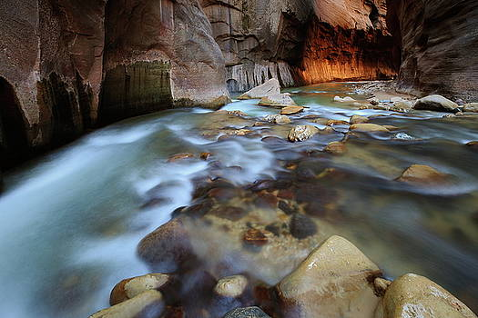 Confluence of the Virgin River at the Narrows at Zion National Park by Jetson Nguyen