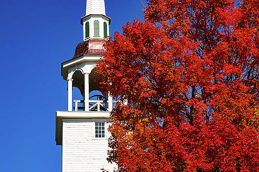 Connecticut steeple by red fall colors by Jeff Folger