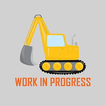 Construction Zone - Excavator Work In Progress Gifts - Grey Background by Life Over Here