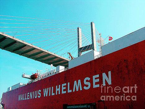 Ginette Callaway - Container Ship Savannah Georgia Under Bridge